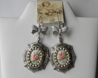 Vintage Pink Rose Cameo Dangle Earrings, Silver Seed Pearl Pink Cameo Earrings, Shabby Bow Earrings, Silver Ear Wires