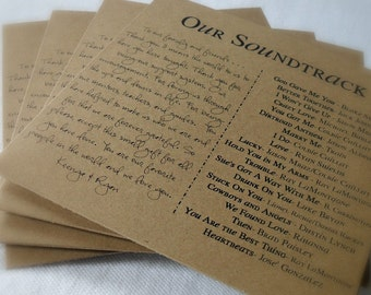 Custom CD Sleeve, Two-Column Note to Guests and Song List, Design Fee