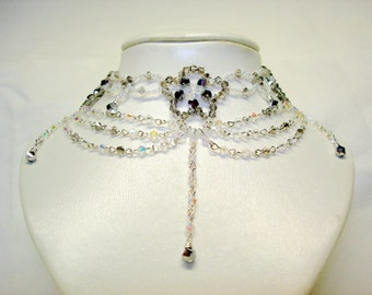 Bridal Victorian Clear Crystal Choker Necklace