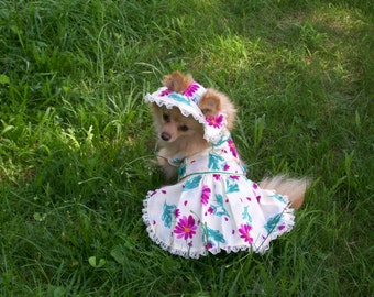 Dog Harness Dress with matching Hat