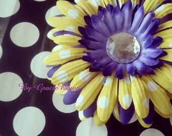 Purple and Yellow Polka Dot Gerbera Daisy Hair Clip