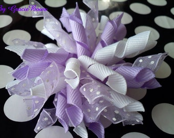Korker Bow- Lilacs and Polka Dots