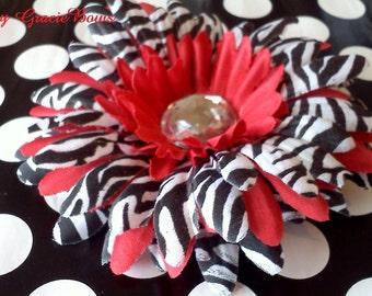 Red Zebra Print Gerbera Daisy Hair Clip