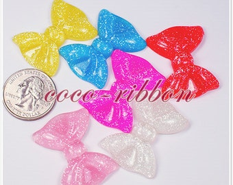34mm 12/24/50 Pieces Glitter Bow Bling Flatback Resin Cabochons
