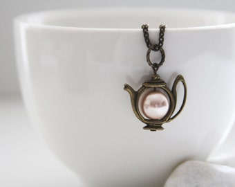Have a Tea Necklace. Antique Gold Teapot with Swarovski Pearl. Pastel (VNL- 68)