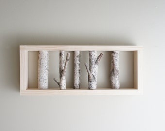 white birch forest wall art - birch branch, birch log, wall hanging, modern rustic wall decor, framed birch art