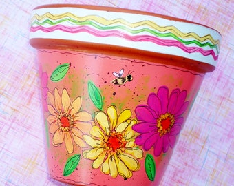 """Hand Painted Terracotta Pot 4 Inch """" Fiesta""""- Choose Pink, Green or White, Made to Order"""