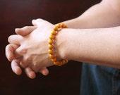 Men's Yellow Bracelet, Mustard Yellow, Yellow Wood Bracelet, Yellow Stretch Bracelet, Bohemian Bracelet, Bohemian Jewelry, LAST ONE!