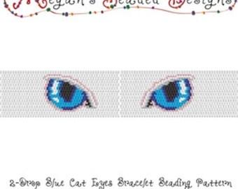 Beading Pattern: 2-Drop Peyote Blue Cat Eyes Bracelet