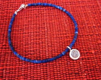 Lapis lazuli bracelet silver 925 pendant charm Yin Yang / 7.50 inches