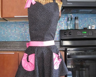 Large Size Black Polka Dot with Pink Apron, Large Size Black Polka Dot Apron, Black Polka Dots with Pink Apron, Large Size Retro Apron