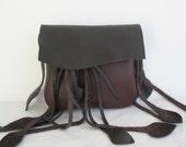 black  brown leather handbag hip bag belt bag with leaf fringe by Tuscada. Made to order..