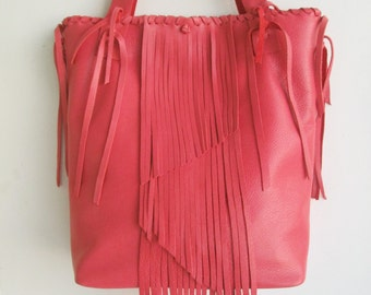 coral pink leather handbag tote with fringe and hand whip stitching by Tuscada. Ready to ship. OOAK