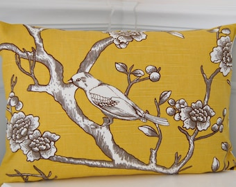 Citrine Yellow & Gray Pillow Cover , Yellow Pillow Cover, Gray Pillow Cover, 14x20 Lumbar Throw Pillow, Yellow Cushion Cover, Grey Cushion