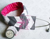 Embroidered RN Stethoscope Cover - Registered Nurse - Gift for Nurse - Dark Gray Chevron with Fuchsia - Made to Order
