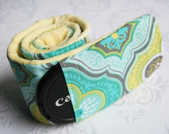 Camera Strap Cover with Lens Cap Pocket - Padded Minky - Moroccan Gray and Teal with Yellow Minky- MADE TO ORDER