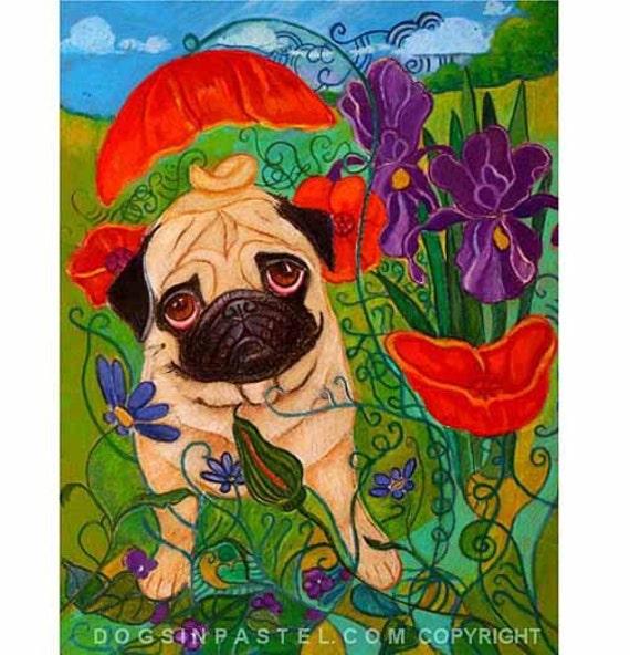 Pug Painting art animal Poppies, Irises ORIGINAL Oil Pastel dog pug Painting
