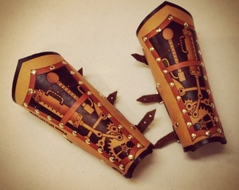 Unisex Hard Leather Clockwork Bracers (Pair)