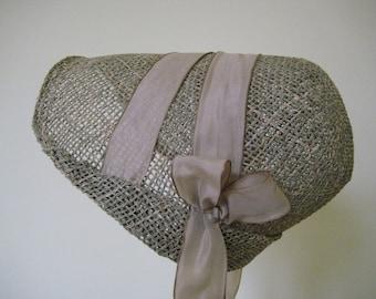Regency Straw Bonnet. Jane Austen. Handmade. Taupe Taffeta Ribbons. MADE TO ORDER