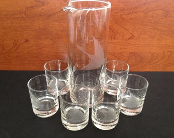 Swan etched glass pitcher with matching set of 6 shot glasses