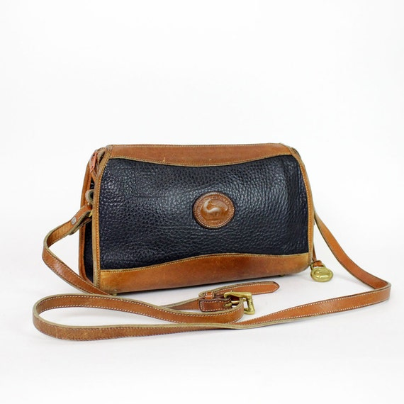 Dooney and Bourke navy blue sling bag / cross body two tone satchel