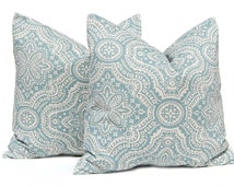 Decorative Throw Pillow Cover - One Pillow Sham- All Sizes - Blue Floral Damask on Linen - Paisley Cushion Covers - Blue Pillow Covers