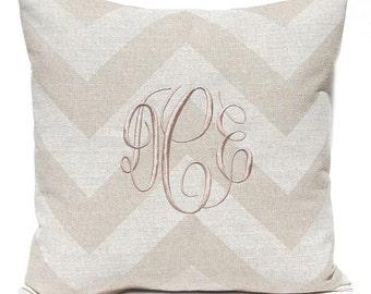 Monogram Pillow Cover, Personalized Pillow, Burlap Pillow, Decorative Throw Pillow Cover, Tan Pillow, Zippy Stone Denton, Tan Cushion