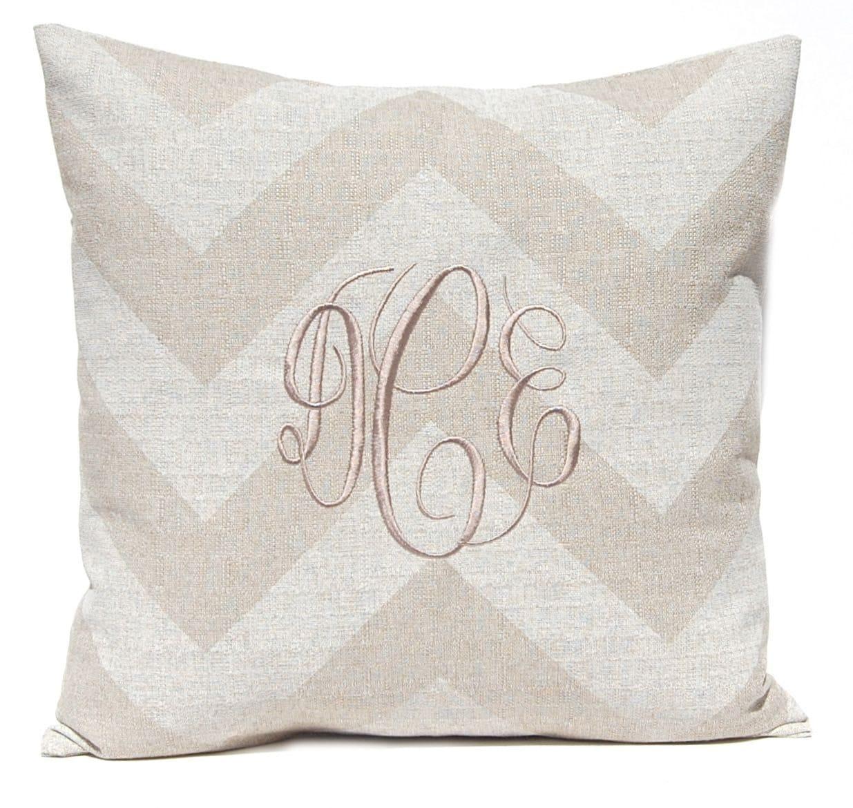 Monogram A Pillow: Monogram Pillow Cover Personalized Pillow Burlap Pillow
