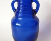 """Vintage Cobalt Blue Empty Decorative Bottle 2 Handles Small 7"""" Tall Rare Unique"""