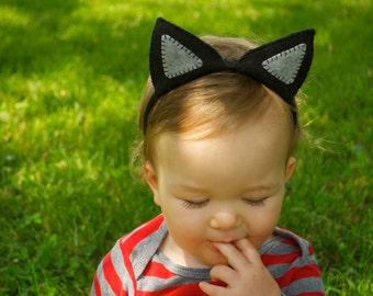 Wool Felt Black Cat Ears Headband