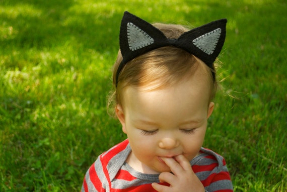 Wool Felt Black Cat Ears Headband