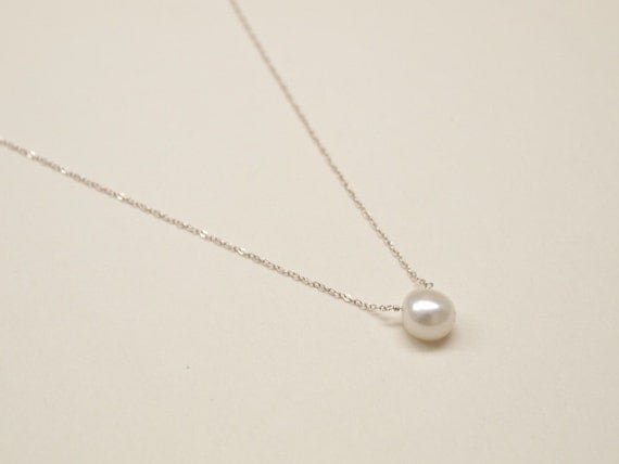 Pearl Pendant - Sterling Silver, Pendant, Pearl Necklace, Pearl Pendant, White Pearl, Silver Chain, White Pearl Necklace, Wedding