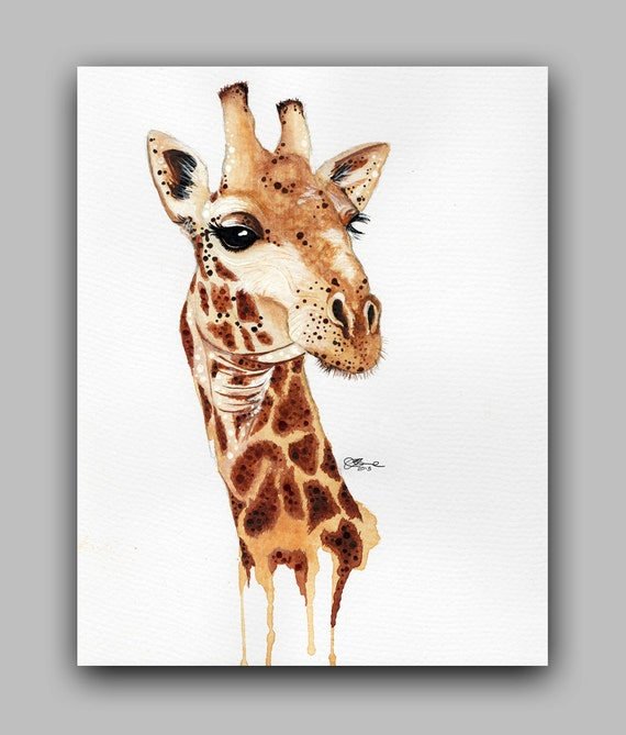 "Watercolour Safari Series, Giraffe, Print 5"" x 7"" - Paint the Moment"