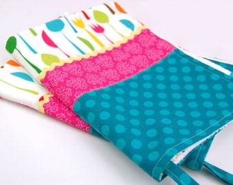 Kitchen Dish Tea Towels- Set of Two in Knife Fork Spoon Silverware Multi Color Pink Turquoise