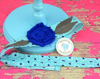 Adult or Child Fabric Flower Head Wrap, Tie, Sash, Headband, With Rose Flower Turquoise Navy Blue Floral