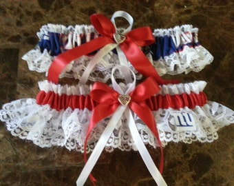 NFL New York Giants white lace & red Wedding Garter set any size color or style