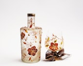 Hand Painted Bottle Upcycled Swarovski Crystals Copper Gold Brown Orange Sun Yellow - NevenaArtGlass