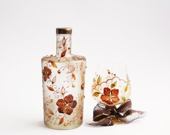 Hand Painted Bottle Upcycled Swarovski Crystals Copper Gold Brown Orange Sun Yellow
