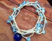 Multi-Wrap Bracelet Blue on Sage