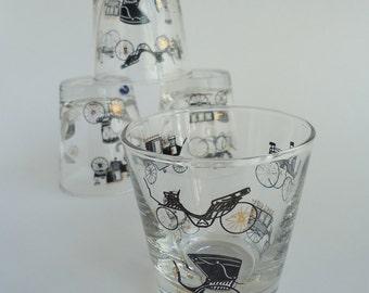 4 Libbey Curio Whiskey Sour Glasses, Freda Diamond, 1950s
