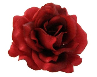 Red Silk Rose flower Hair Clip 3 Inch.