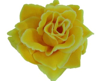 Yellow Rose flower Hair Clip 4 Inch.