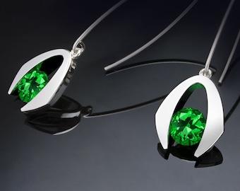 green topaz earrings, dangle earrings, Argentium silver, Christmas earrings, emerald green, gemstone earrings, eco-friendly - 2425