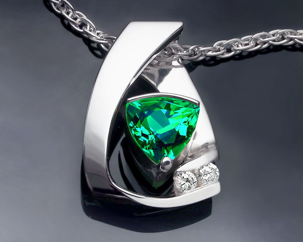 Emerald Necklace Emerald Pendant White Sapphires May