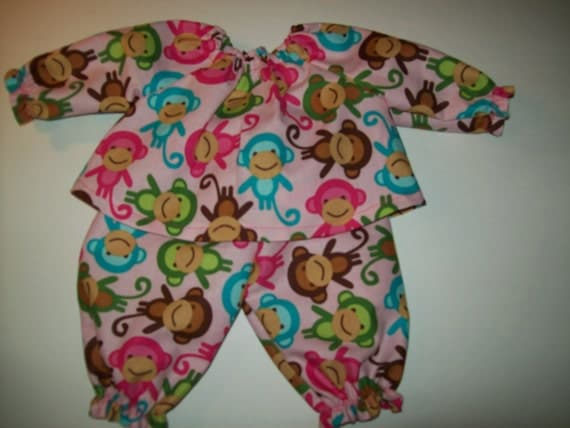 Baby Alive And Waldorf Doll Clothes Pink Retro Monkeys