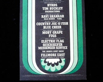 1968 Byrds Fugs Moby Grape Fillmore East Psych Handbill Sixties Ravi Shankar