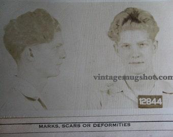 "1941 MUG SHOT Allegheney County  Pa Police Criminal 18 Year Old Scotch Irish Guy ""Cowboy"""