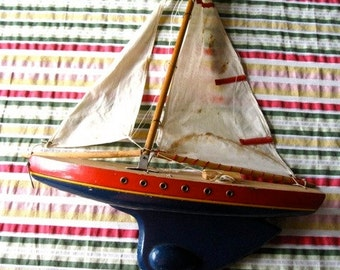 """Vintage French  Sailboat 15 1/4"""" inches Wood Boat Modele 1st Place Dieppe Weighted"""