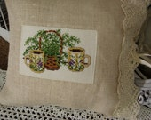 Handmade Needle Point  and Vintage Lace Embellished Pillow Cover with Cotton Pillow