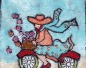 Bike Love on canvas original illustration